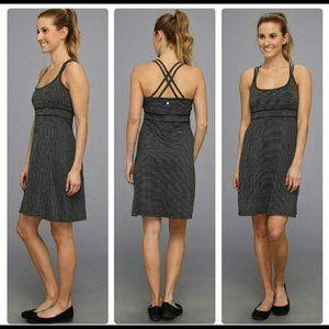 Soybu Small Black & Gray Stripe Athletic Dress